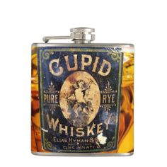 Vintage Cupid Whiskey Bottle Label Flask Valentine