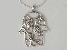Silver necklace hamsa  pendant