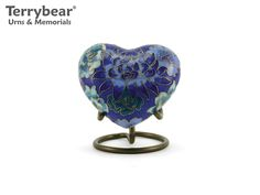 Terrybear Elite Floral Blue Cloisonné Heart Keepsake. This Keepsake can hold a small amount of cremated remains.