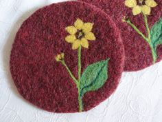 Wool Felted Coasters with Sunflower Needle Felted by Susietoos