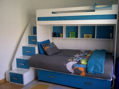 Galaxy Bunk Bed - Double lower bunk with storage, Single top bunk, cubbies and Multi Functional Stairs. Available in over 18 different clours and various cut outs