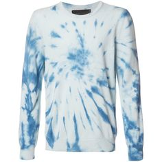 The Elder Statesman tie-dye jumper (€780) ❤ liked on Polyvore featuring tops, sweaters, blue, tie dyed tops, tie-dye tank tops, blue cashmere sweater, jumpers sweaters and tie dye jumper