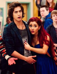 Avan Jogia and Ariana Grande on the Set of Victorious!!! :) they look like Ariel ad Eric....maybe a real life movie should take place...