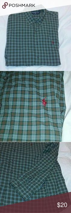 "Ralph Lauren Shirt Custom Fit Button Down Mens 2XL Ralph Lauren Shirt Custom Fit Button Down Blue Green Check Mens Shirt XXL 2XL  Excellent, clean condition.  Super soft 100% cotton.  Great find!  Approx measurements, laid flat: chest 25"", length 30"". Polo by Ralph Lauren Shirts"