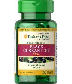 Olej z Czarnej Porzeczki 535mg 50 kapsułek Black Currant Oil, Black Currants, Coconut Oil, Vitamins, Jar, Food, Meal, Jars, Hoods