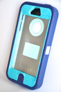 Otterbox Case iPhone 5 Glitter Cute Sparkly Bling Defender Series Custom Case Blue / Navy blue