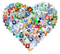 Herkenbare social media pictogrammen als achtergrond
