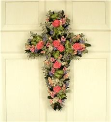 Dried Floral And Silk Springtime Floral Cross