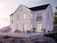 Hudson är största huset i serien Ocean Living från Myresjöhus. Inspirerat av amerikansk östkust-arkitektur och gott om utrymme för en större barnfamilj.