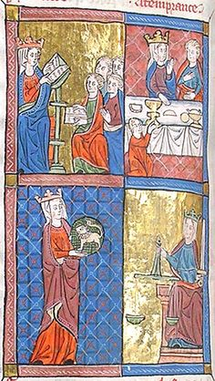 Panel showing Prudence, Temperence, Fortitude, and Justice.