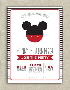 Mickey Mouse birthday invitation by paperkitedesigns on Etsy