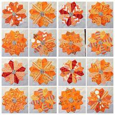 Orange Dresden Plates by CASharp on Flickr. So cool!! Dresden Plate Patterns, Dresden Plate Quilts, Star Quilts, Quilt Blocks, Quilt Patterns, Hexagon Quilt, Square Quilt, Orange Quilt, Contemporary Quilts