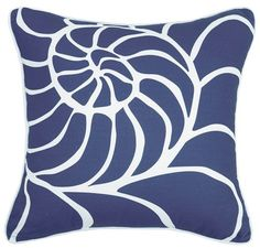 Classic beach house style can be yours with this 20 x 20 Navy Blue Nautilus Shell Printed Pillow, perfect for a quick room update! Beach Cottage Style, Beach Cottage Decor, Coastal Cottage, Coastal Homes, Coastal Style, Coastal Decor, Coastal Living, Coastal Farmhouse, Modern Coastal