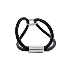 NOVICA Artisan Crafted Steel and Black Leather Bracelet from Brazil (150 BRL) ❤ liked on Polyvore featuring jewelry, bracelets, black, clothing & accessories, wristband, magnet jewelry, novica, novica jewelry, steel jewelry and leather bangles