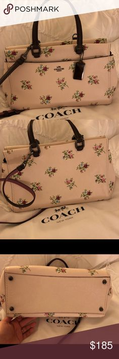 """Coach Fulton Satchel w/ Cross Stitch Floral Print Worn only once, sadly too small for me, my loss is your gain. Pretty floral print with deep burgundy handles and strap with subtle sparkles. Chalk background. 12"""" L, 7 3/4"""" H, 6"""" W Coach Bags Satchels"""