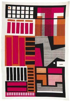 Angelo Testa; Silkscreened Fabric Wall Hanging, c1965.