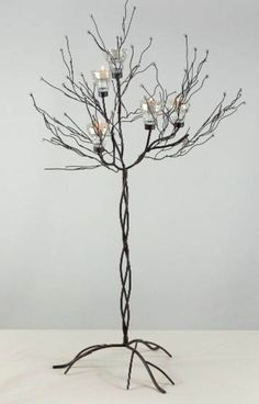 "Metal Twig Tree 32"" Candle Holder (SET OF TWO)- Measurement conform to the way you shape it- branches are bendable.  30 � 32� tall  16�-18"" crown width  12� diameter base    Measurements:  Overall 36"" tall (with candles)"