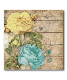 Yellow & Teal Floral I Wrapped Canvas