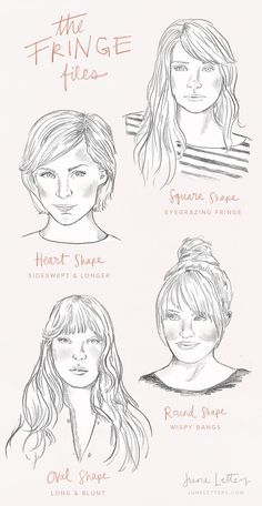 The Fringe Files: Illustrated guide to finding the right bangs style for your face shape. The Fringe Files: Illustrated guide to finding the right bangs style for your face shape. My Hairstyle, Hairstyles With Bangs, Pretty Hairstyles, Drawing Hairstyles, Hairstyles Men, Wedding Hairstyles, Bangs For Round Face, Fringes For Round Faces, Haircut For Round Face Shape