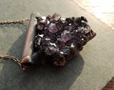 Natural amethyst necklace.  100 % copper.  Electroforming.    All of my jewelry is created in my home studio.  Handmade with love ♥.    Made by natural