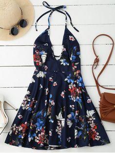 Halter Plunge Backless Floral Dress - DEEP BLUE M