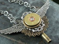 Steampunk Style Winged Clock Key Pendant with Stacked by thekeyofa, $85.00