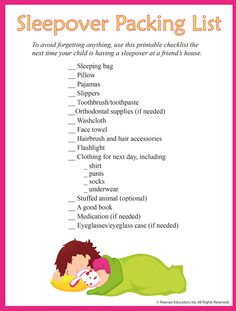 Sleepover packing list for kids. Make packing for their sleepovers fun with this checklist for kids at familyeducation.com