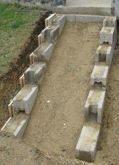 Vintage Eine Treppe aus Stahlbeton Gartenbau selber gemacht