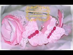 НАРЯДНЫЙ ОБОДОК с красивым цветком канзаши и бабочками из лент и кружева