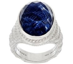 """""""As Is"""" Judith Ripka Sterling Silver Sodalite Doublet Ring - J335327"""