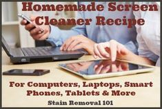 Here's a video with a recipe for homemade screen cleaner spray.  You can use this cleaning product to clean your computer, laptop, smart phone and tablet