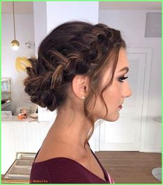 Prom Frisuren 2019  brown hair with highlights in a braided bun wedding hairstyles for med