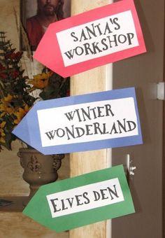 Santa's Workshop = crafts, Elves Den = games, Mrs. Claus' Kitchen = cookie decorating, Winter Wonderland = face painting