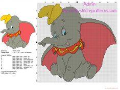 Dumbo l'elefante volante DIsney schema punto croce gratis