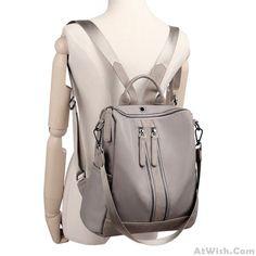 Elegant Waterproof Double Zipper PU Multi-function Handbag Large School Backpack