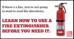 Learn how to use your fire extinguisher BEFORE you need it -- it's five minutes that could save your life some day! Boat Safety, Water Safety, Boating Tips, Fire Extinguisher, Emergency Preparedness, Good Grips, Health And Safety, Boats, Sea