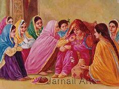Old Punjabi Culture : bride on her wedding day Art Village, Indian Village, Indian Women Painting, Indian Art Paintings, Punjab Culture, Wedding Painting, Woman Painting, Tile Painting, Pictures To Paint