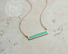 Turquoise Bar Necklace Turquoise Gold Necklace delicate