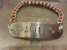 FRAGILE - Stretch Bracelet by BeadMeSilly on Etsy