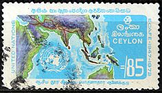 Ceylon.   ECONOMIC COMMISSION FOR ASIA & THE FAR EAST (ECAFE) 25th Anniv. UN EMBLEM, MAP SHOWING ASIAN HIGHWAY.  Scott 469 A161, Issued 1972 May 2,  Perf. 13 x 12 1/2, 85. /ldb.