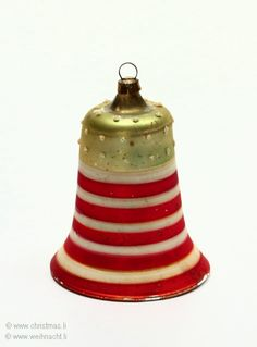 Antique Patriotic Bell Glass  Christmas Ornament
