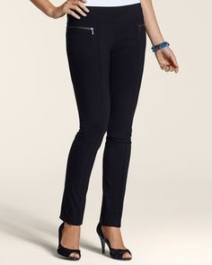Chicos Womens Black So Slimming By Chico's Slim Stretch Pull-On Pants in December 2012 from Chico's on shop.CatalogSpree.com, my personal digital mall.