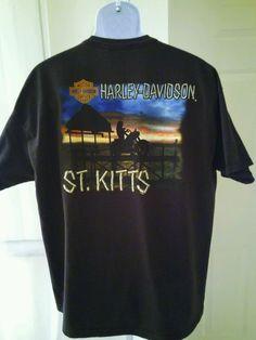 Harley Davidson Men XL T-Shirt 2011 St Kitts Sunset Beach Scene Sexy Biker Chick in Collectibles, Transportation, Motorcycles | eBay