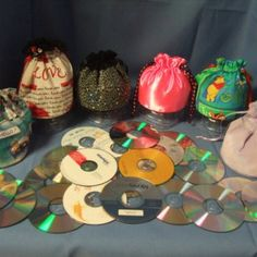 Make Drawstring Fabric Bags from old CD's Tutorial $3.95
