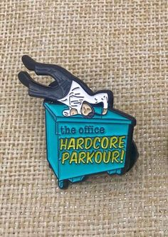 Excited to share this item from my shop: PREORDER - The Office Hardcore Parkour! The Office Merch, The Office Show, Office Tv, The Office Stickers, Office Jokes, Jacket Pins, Dunder Mifflin, Cool Pins, Shopping