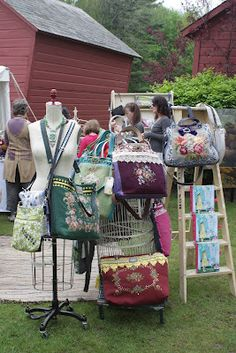 huge totes made from vintage needlepoint pieces - could also use small rugs