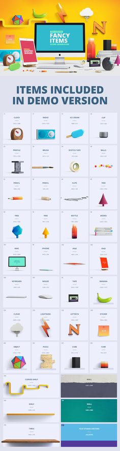 Use this high quality set of graphics to create colorful hero images for various design projects like websites...