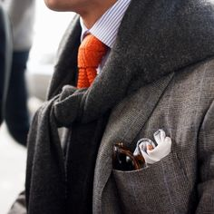Had to pin this since with the Orange knit tie + textured greys, men's style, fall fashion