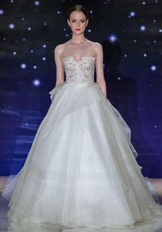 Cream silk organza ball gown with embroidered strapless bodice and bustled skirt detail | Reem Acra She's Wonderful | http://knot.ly/64928H7Qu