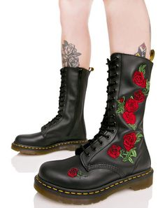 Black 8 eye and 14 eye Dr. Martens Boots in matte and patent leather. Jadon, Persephone, Katrina, Vonda embroidered and Hazil tall slouch Doc Martens. Black Army Boots, Black Lace Up Boots, Lace Up Combat Boots, Leather Lace Up Boots, Red Boots, Leather Booties, Red Lace, Ankle Booties, Red Doc Martens